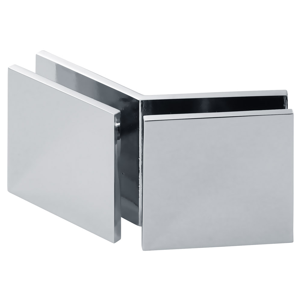Square 135 Degree Glass-to-Glass ''Open Face'' Clamp
